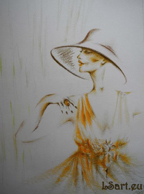 Pencil drawing in orange of a glamorous woman