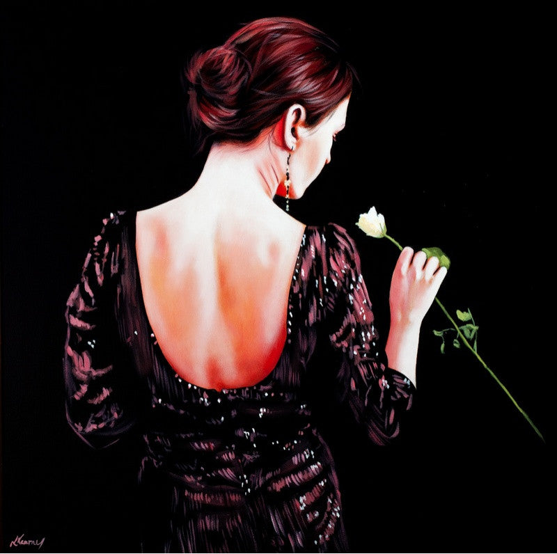 Original oil painting of a woman in a black dress smelling a white rose
