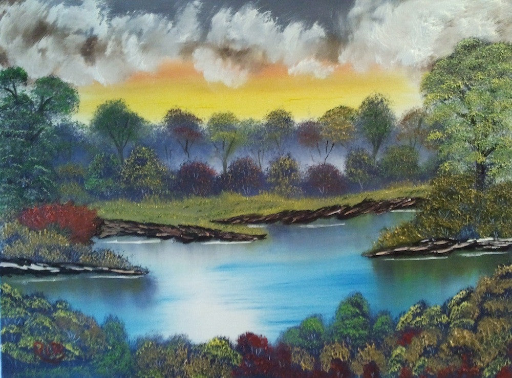 colourful original painting of a lake surrounded by a thick forest