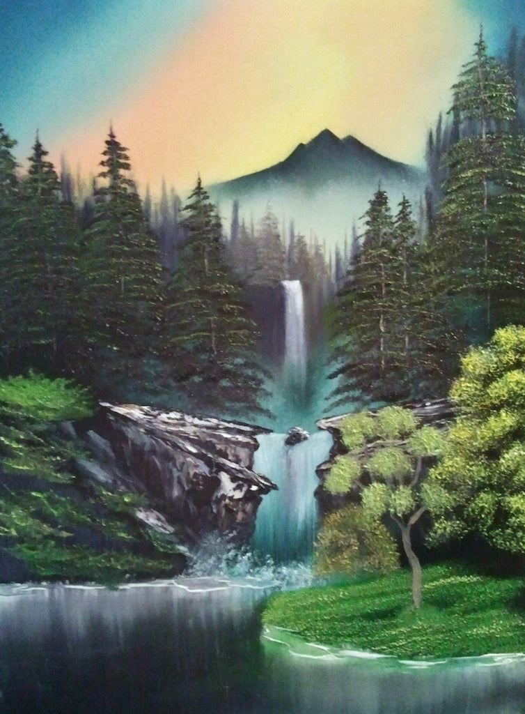 Colourful painting of a waterfall cascading down the mountain into a large lake