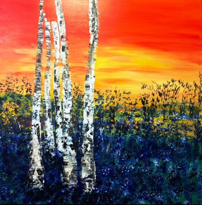 Colourful painting of 5 silver Birch trees at sunset
