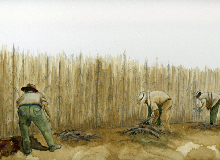 Original painting of 3 men working in the fields cutting down corn
