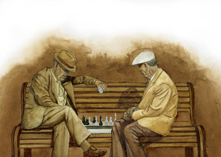 Original painting of two men playing chess on a park bench