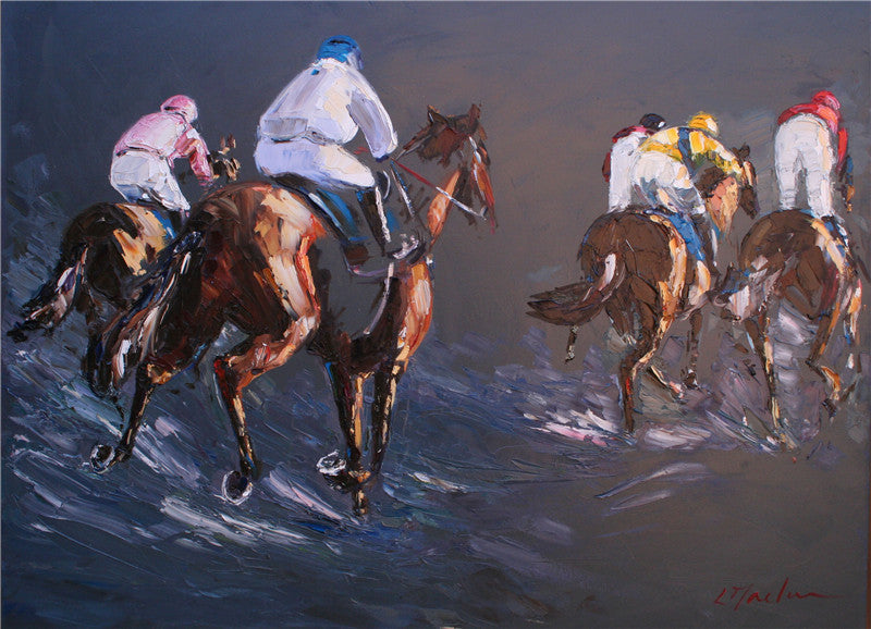 Beautiful oil painting of a horse race