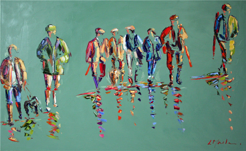 Colourful original oil painting of a line of men ready for the shoot