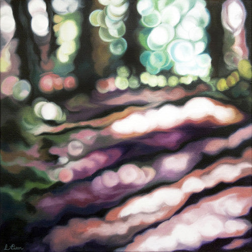 Abstract painting of a forest floor in Autumn