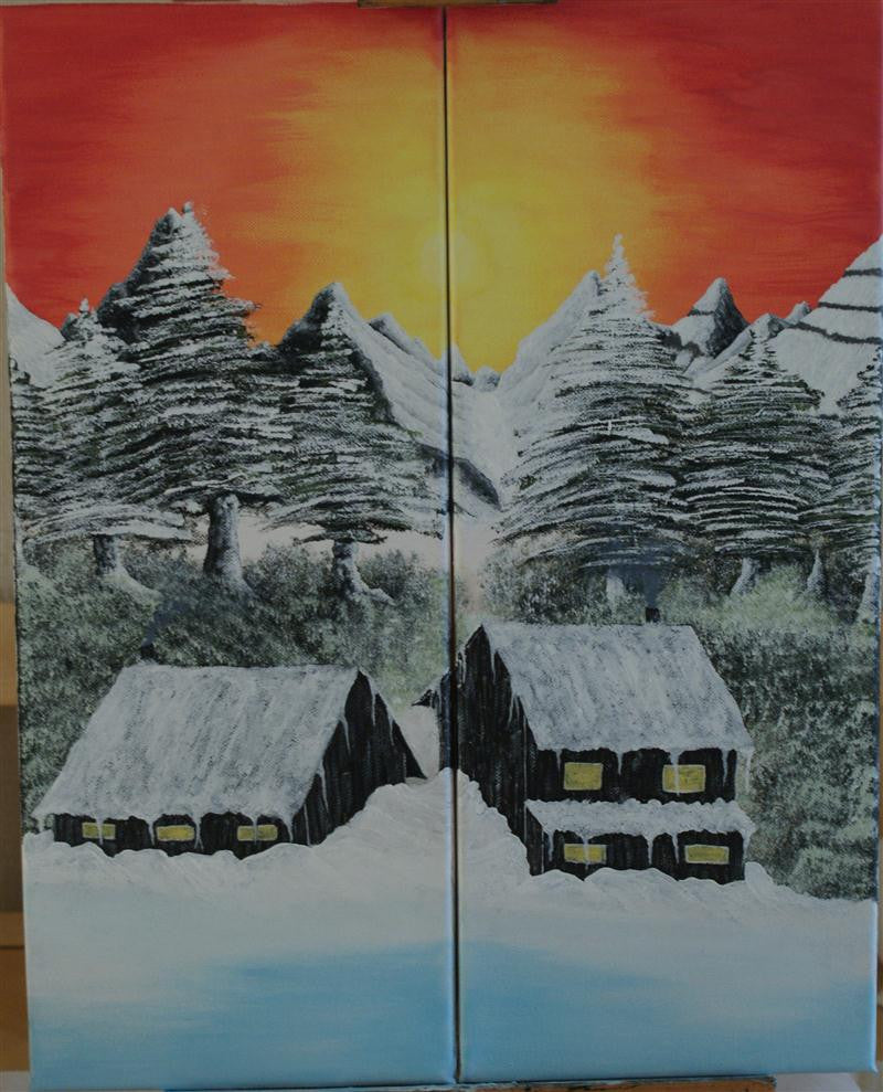 Sunset Mountains with Lodges
