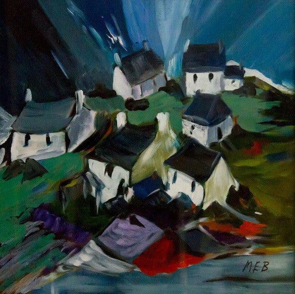 Original oil painting of a row of houses with grey roofs as a winter storm approaches