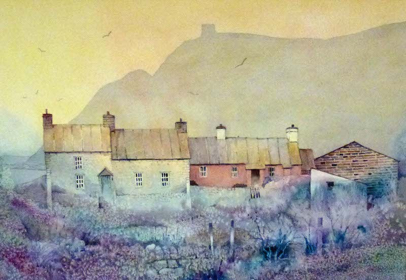 Original watercolour view looking over Abereiddi Cottages