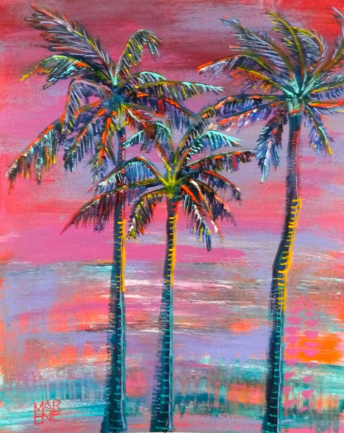 Original acrylic painting of 3 palm trees blowing in the wind