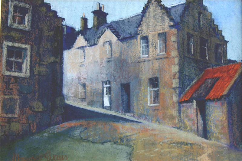 Original painting of a white door in the costal village of Crail in Scotland