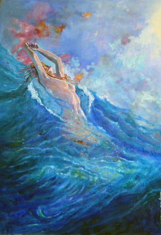 Woman on the waves