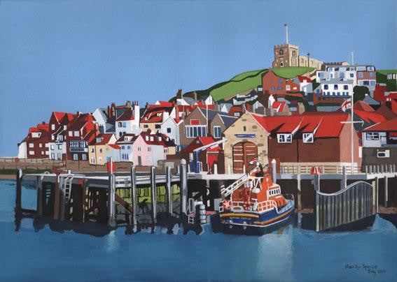 Original painting of the lifeboat house in Whitby harbour
