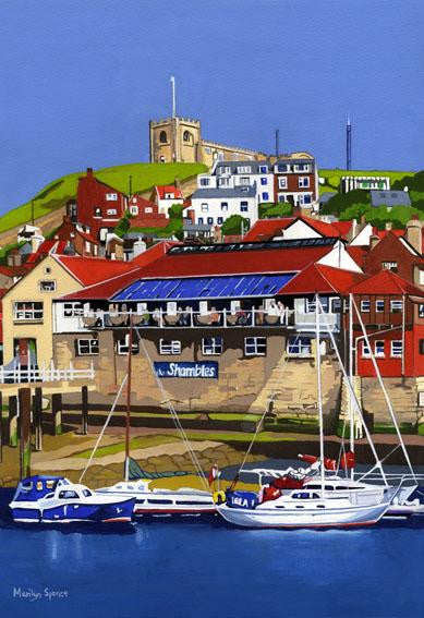 Painting of a view of the east bank of the River Esk at Whitby