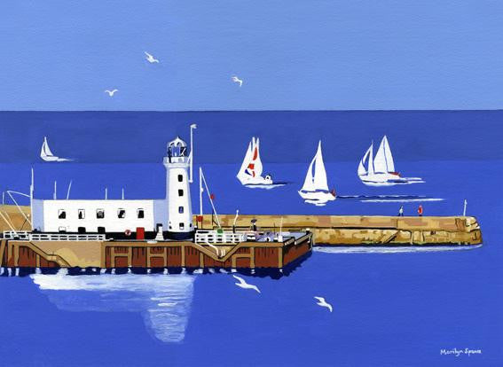 Watercolour painting of a yacht race leaving the harbour at Scarborough