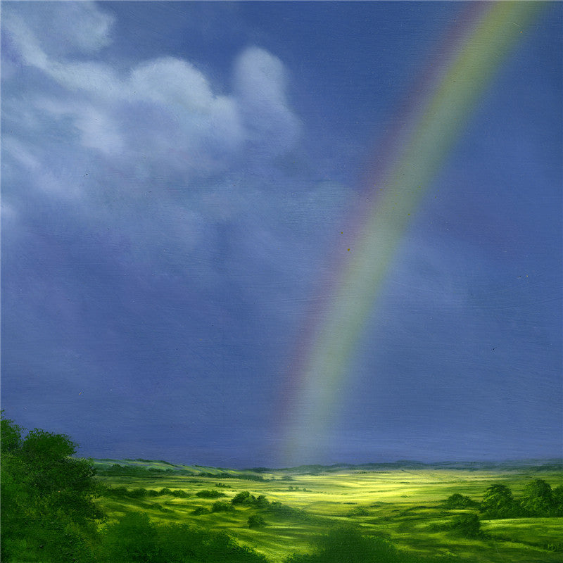 Amazing oil painting of a rainbow lighting up the valley below
