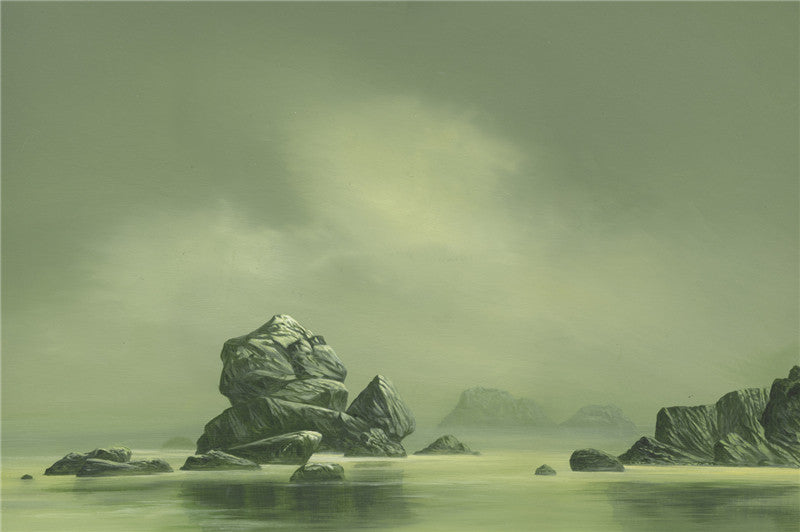 Painting of outcrop rocks in the water in a pale green with dark clouds
