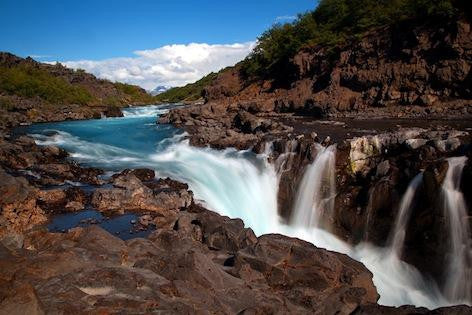 Photograph of Barnafoss waterfall on a lovely sunning day