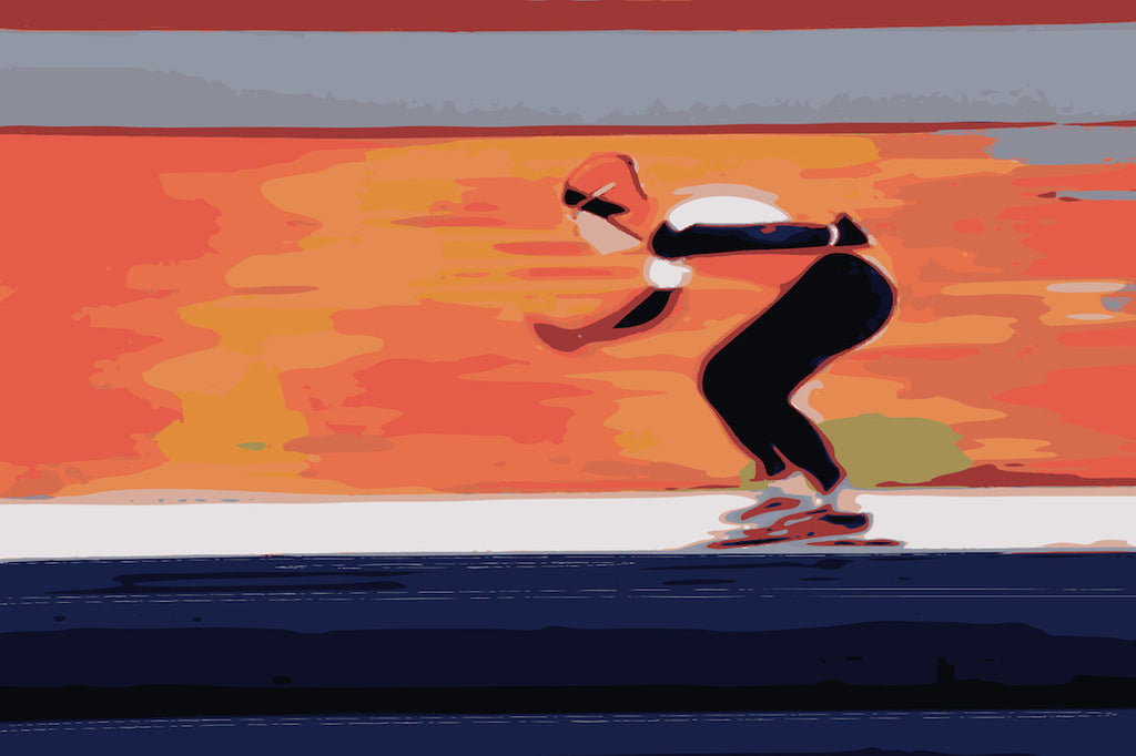 Original digital art of a speed skater at the Winter Olympics