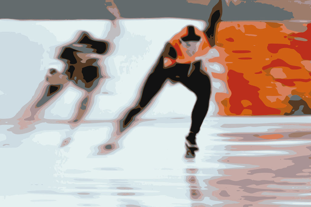 Original digital art of speed skaters at the Winter Olympics