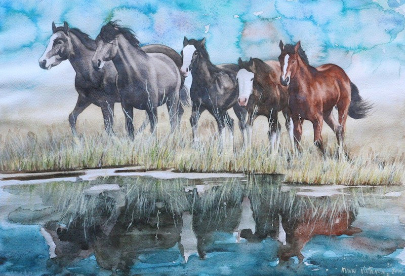 Beautiful original oil painting of a group of wild horses reflecting in a lake