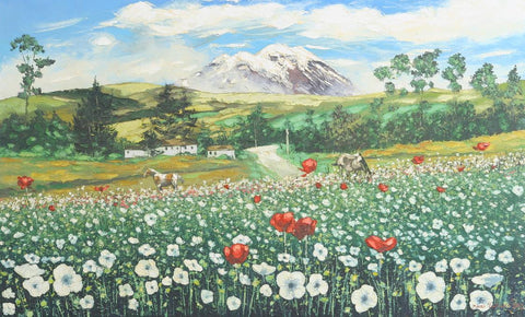 Idilic Andean Landscape with Poppy Flowers
