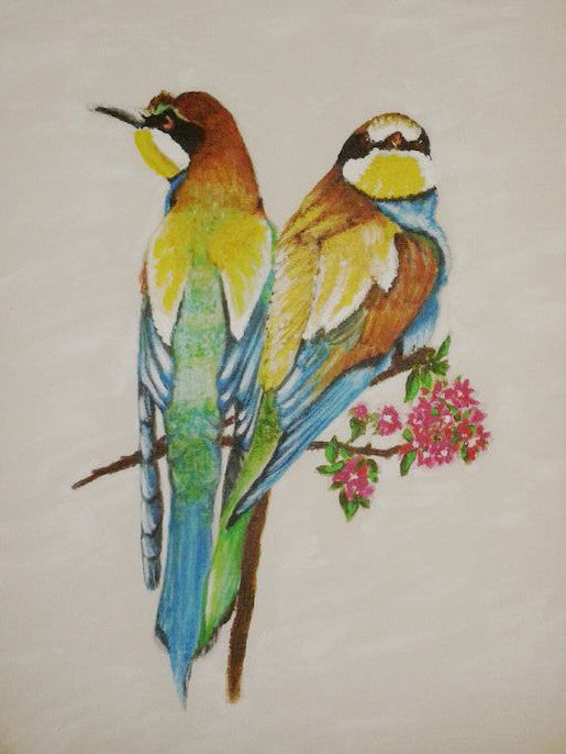 Beautiful painting of two colourful Bee-eater birds perched on a branch