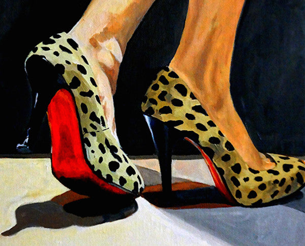 Oil painting of a pair of red shoes and a ladies ankle