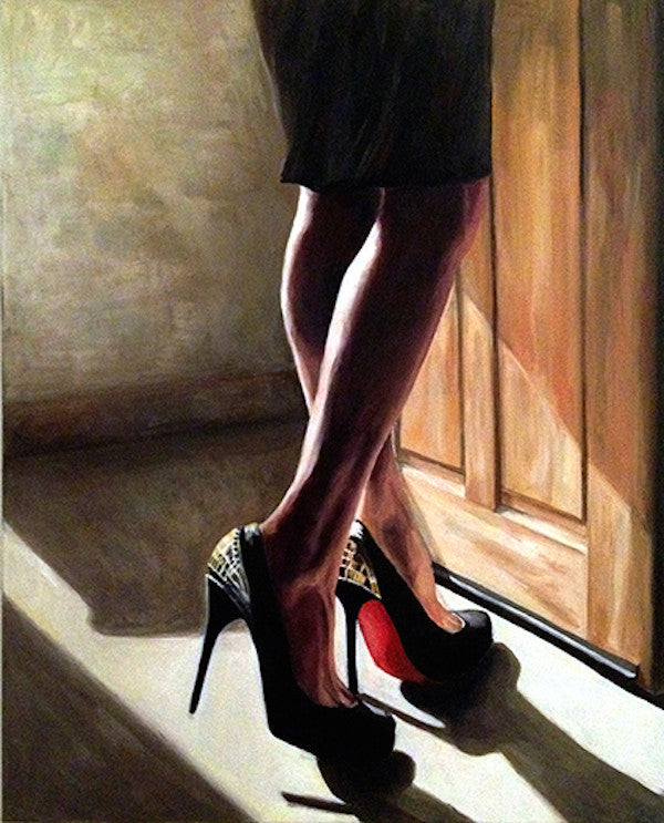 Original oil painting of a woman's naked legs