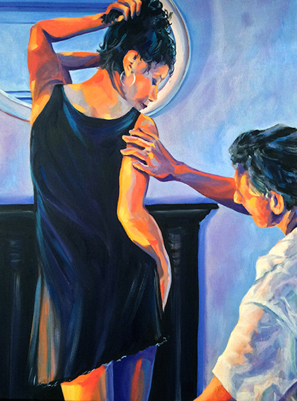 An original oil painting of a woman having her new dress fitted