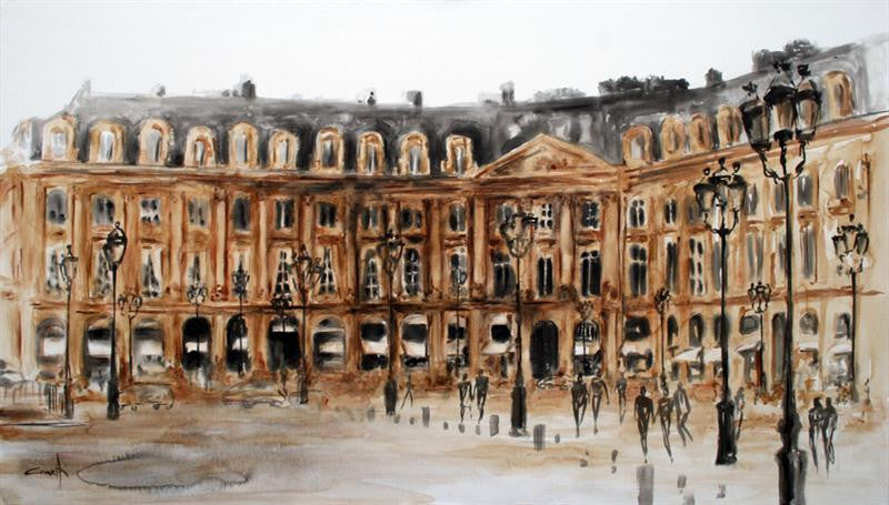 Painting of a view of the Place Vendome in Paris