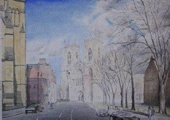 An original watercolour painting of York Minster Cathedral in York