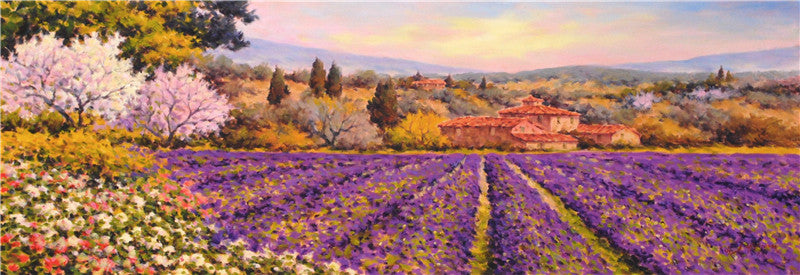 Lavender with Trees in Bloom