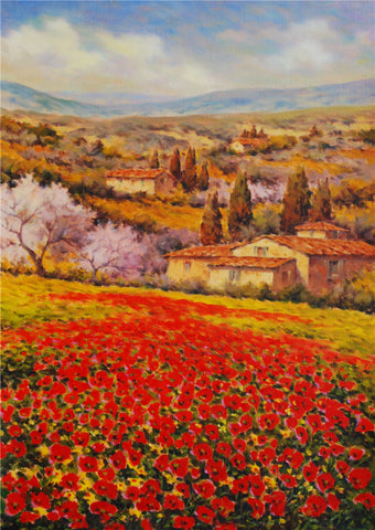 Tuscan Farmhouse with Poppies
