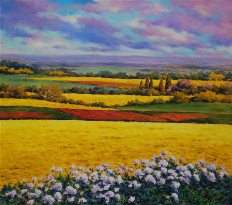 Beautiful original oil painting of sunflower fields in the Tuscany countryside in Italy