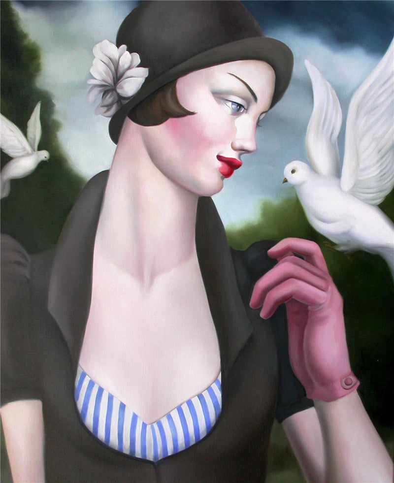 Oil painting of a woman holding on to a white dove