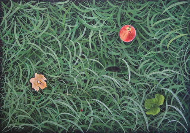 Abstract painting of green grass with a red apple and a flower