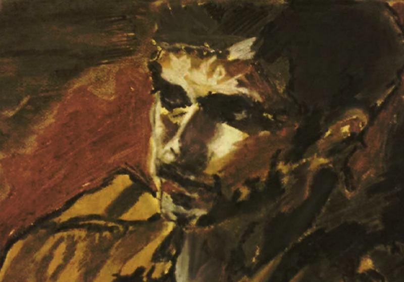 Figurative painting of a man lying down