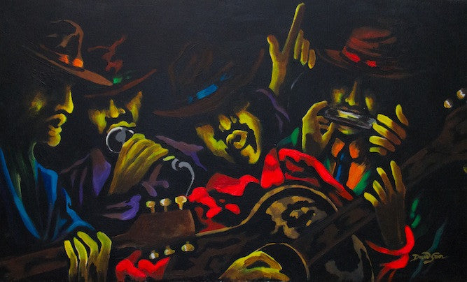 Original oil painting of 4 men partying while out in New Orleans