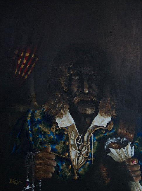 Original oil painting of a man in the shadows in a Caravaggio style
