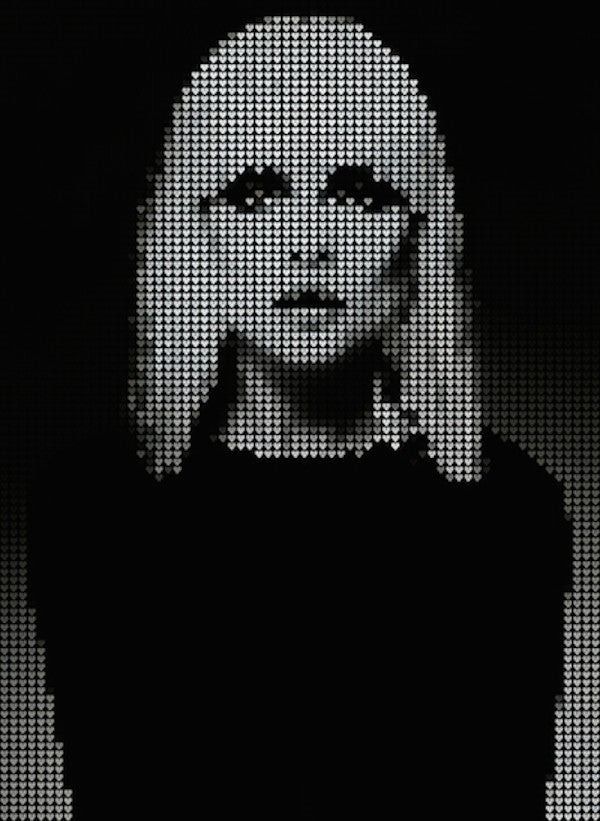 Stunning digital print of Debbie Harry from Blondie made from black hearts