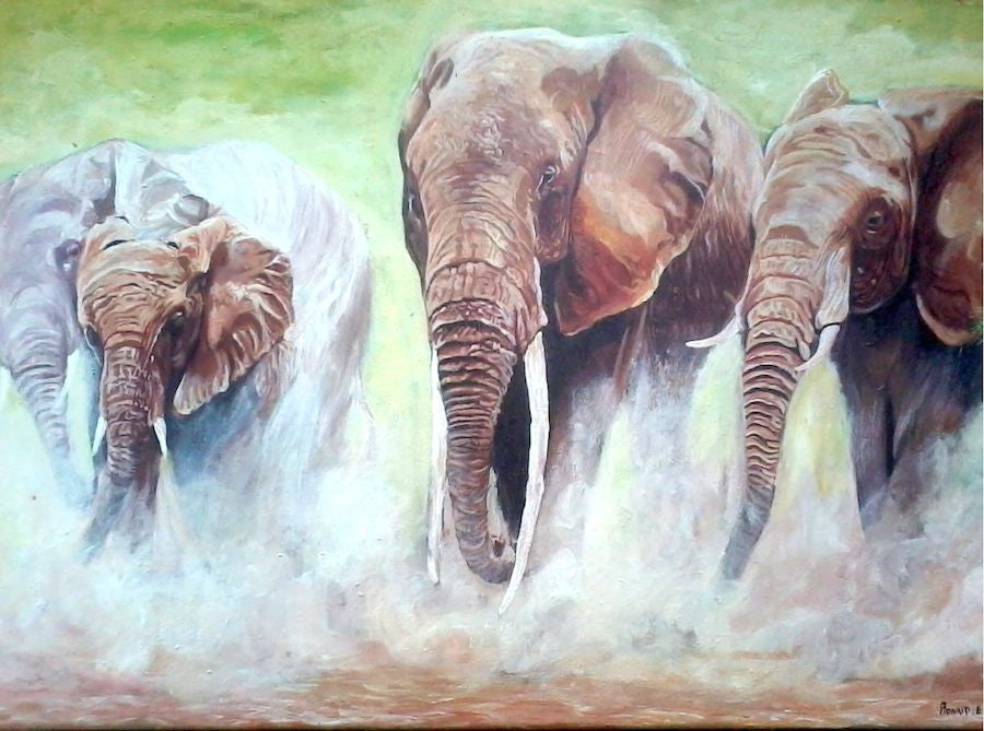 Original acrylic painting of a herd of Elephants charging towards the artist