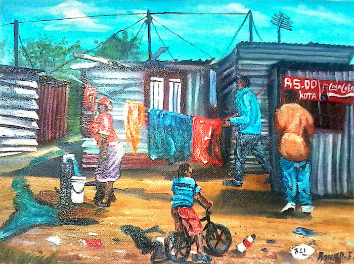 Original acrylic painting of an African Township