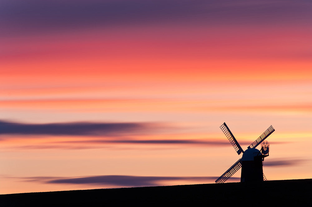 A Stunning photograph of the silhouette of Wilton windmill at sunset