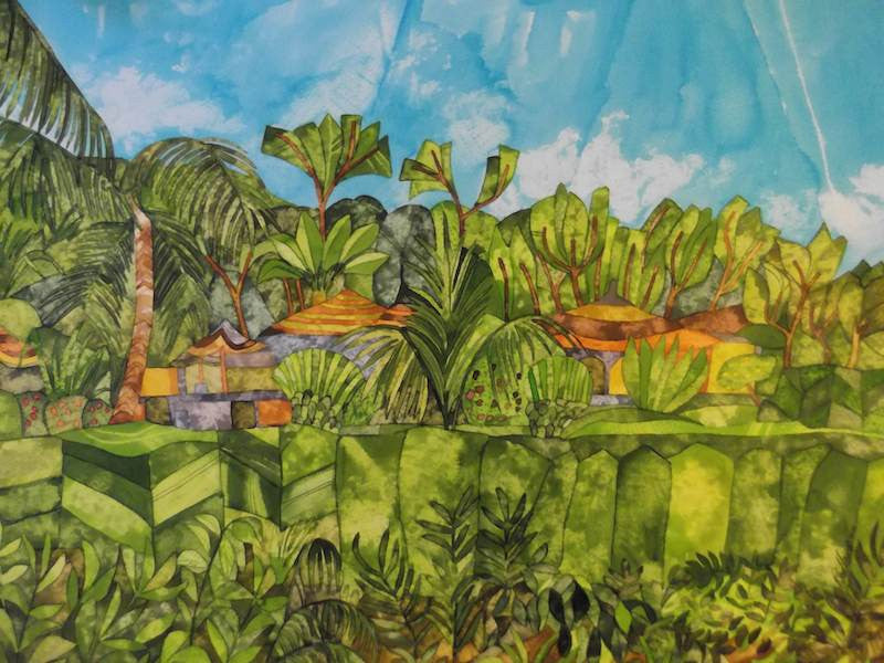 Original painting of a lovely garden in the Gambia in inks and dyes