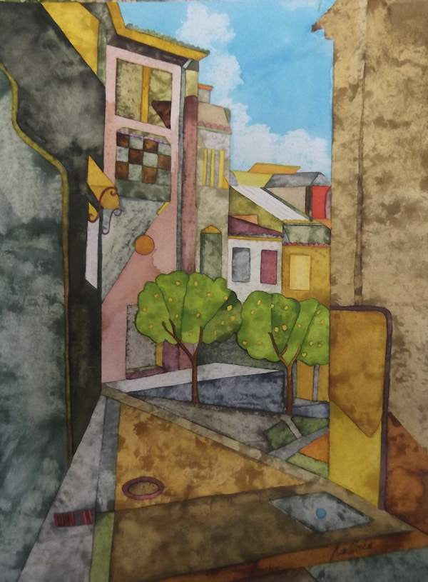 Colourful painting of the back streets of Antiquera in Southern spain