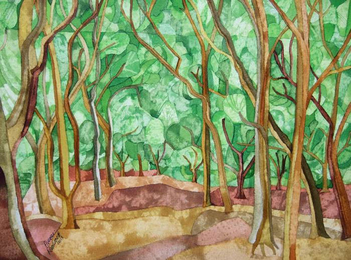 Lovely original painting of an avenue of trees within a green forest