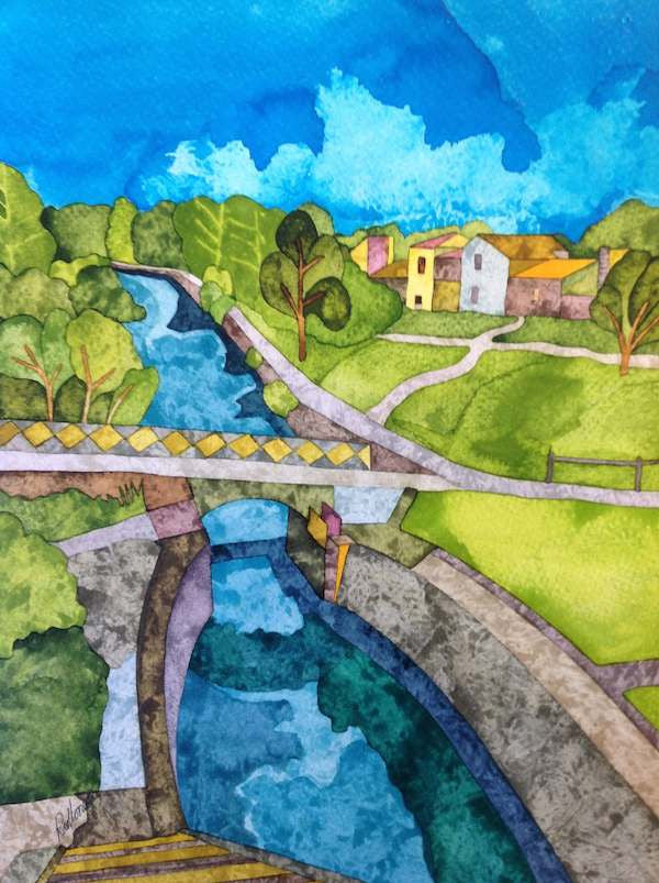 Colourful ink drawing of Canal du Midi in France on a hot summer day