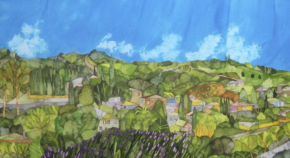 Original painting of Nikiti a village in Greece on a bright sunny day