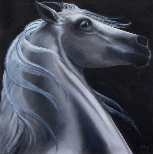 Stunning painting of a whit stallion with a deep black bachground